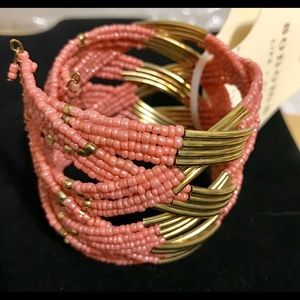 Peach/Pink & Golden Brass Cuff Bracelet